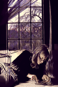 Ariadne at window digital painting 28x40