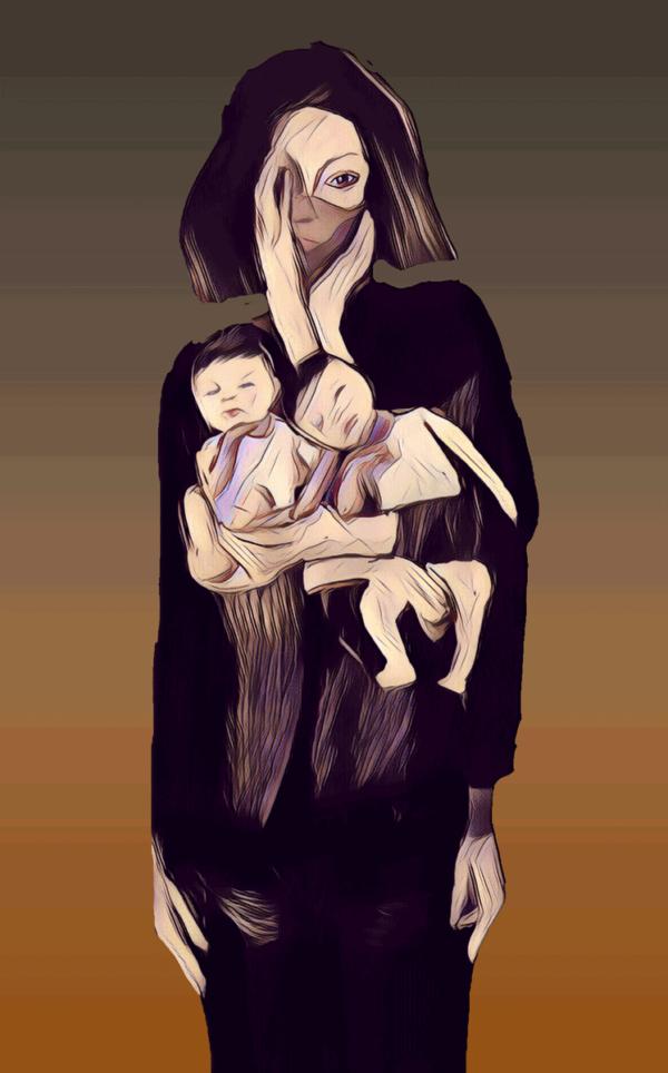 Birthing Covid digital painting 20x30