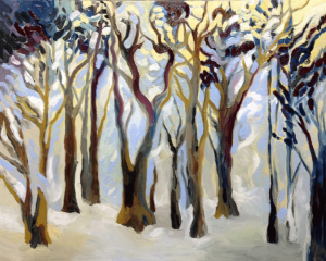 Dancing Winter Trees oils on canvas 16x20