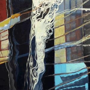 Mountain Lightning, Oils on canvas, 24x48 2020