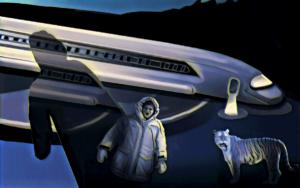 Night Landing digital painting 30x40