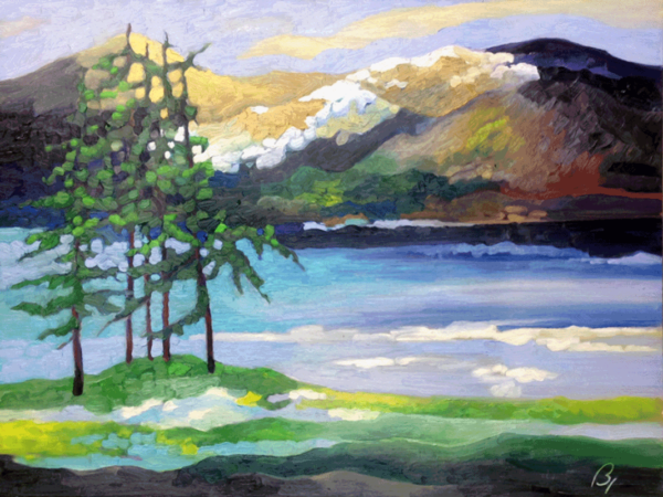Priest Lake in Early Spring oils on canvas 18x24