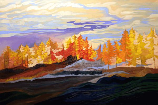 Tamaracks On Lake Pend Oreille oils on canvas 36x48