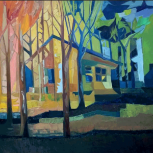 """Image of painting """"Cabin in the Woods"""""""